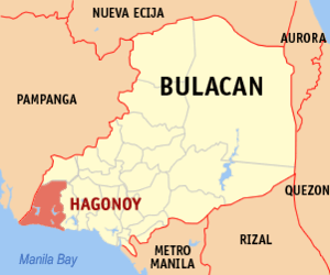 Map of Bulacan showing the location of Hagonoy