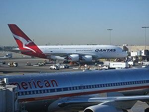 English: Qantas A380 preparing to depart LAX o...