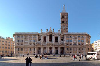 Frontview of Santa Maria Maggiore in Rome. Pan...