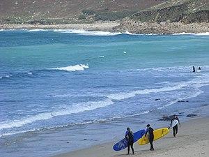 English: Surf's up! Whitesand Bay, Cornwall