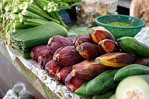 Banana flowers and leaves for sale at Thanin m...