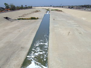 Tijuana River seen from a pedestrian bridge in...