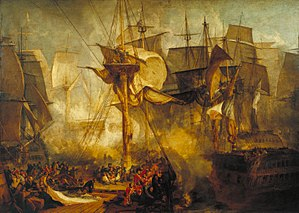 Battle Of Trafalgar by JWM Turner