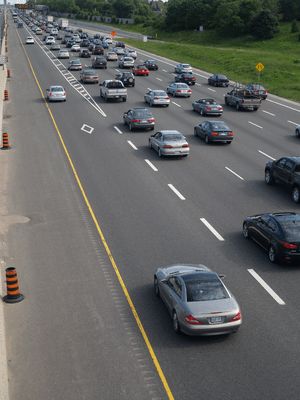A high-occupancy vehicle lane on Ontario Highw...
