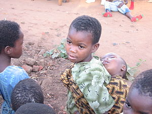 English: Aids orphans in Malawi, Africa. The s...