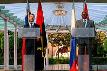 Dos Santos with Russian President Dmitry Medvedev whilst the latter was on a state visit to Angola on 26 June 2009