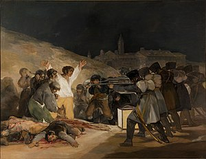 "French troops slaughtering Spanish civilians in Goya's painting ""The Third of May 1808""."