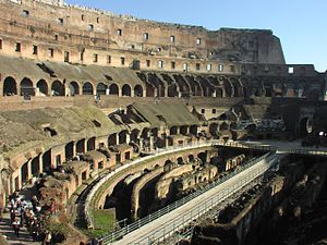 a view inside the ancient Roman arena the Colo...