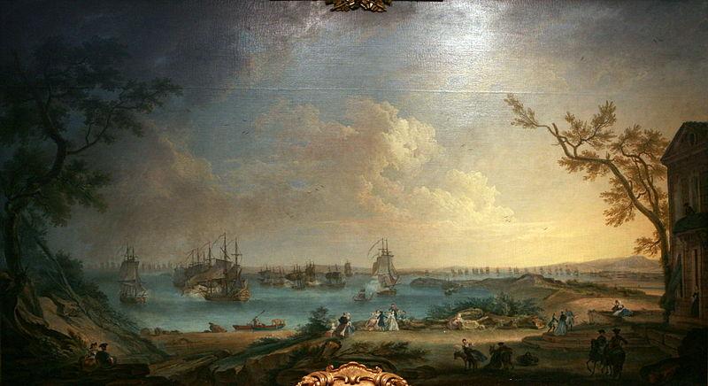 Salida de la escuadra francesa el 10 de abril de 1756 para atacar el puerto de Mahon, obra de Nicolas Ozanne