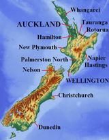 Map of New Zealand, with cities labelled.