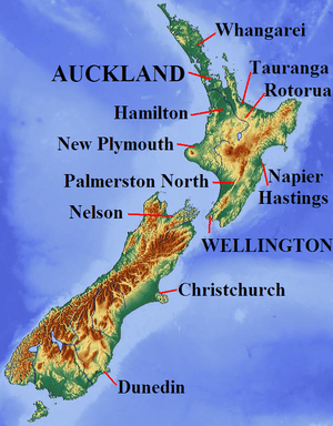 Relief map of New Zealand