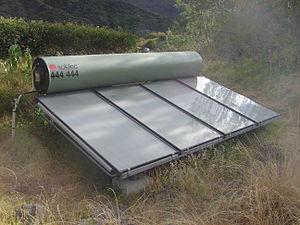 A monobloc solar heater in Cirque de Mafate, L...