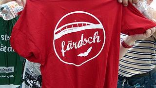 Die Waldschlößchenbrücke am Eröffnungstag - 24. August 2013 - Verkauf von Brücken-T-Shirts während des Brückenfestes, Dresden