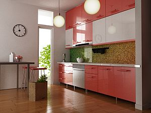 3D interior design of a kitchen
