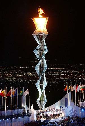 Olympic flame during 2002 Winter Games in Salt...