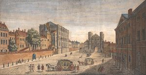 A view of Whitehall, looking south, in 1740. T...