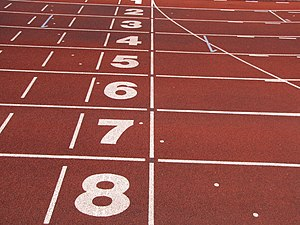 English: Athletics tracks finish line