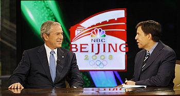English: US President George W. Bush speaks wi...