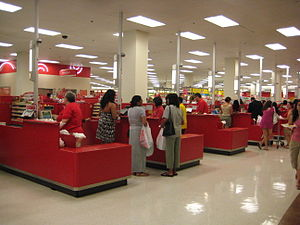 This is a row of Cash Registers at a Target st...