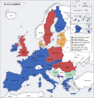 map of Europe; blue: Eurozone, green: monetary...