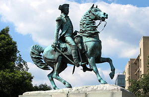 English: The equestrian sculpture of George Wa...