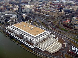 The Kennedy Center as seen from the air. A por...