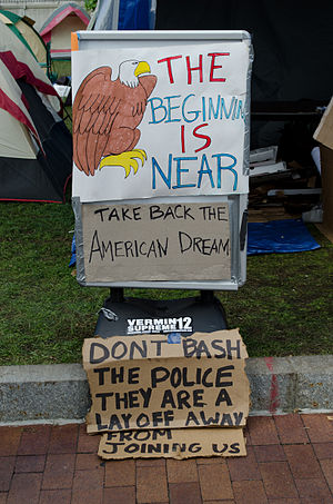 English: Signs from the Occupy Boston demonstr...