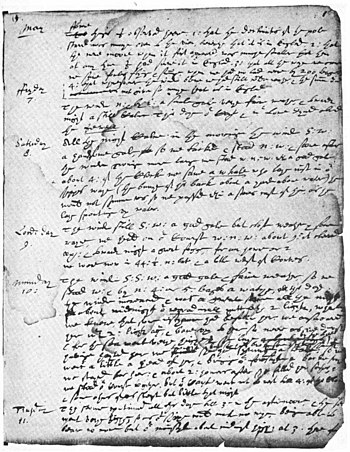 Page from John Winthrop's Journal. From Wikiso...