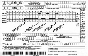 An example of a truck driver log book in the U...