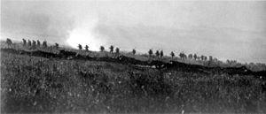 Tyneside Irish Brigade advancing on La Boisselle sector.
