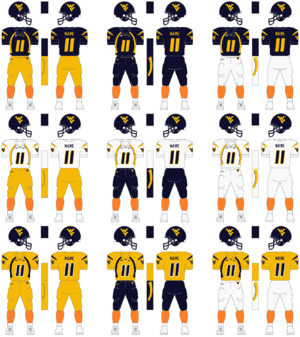 The football uniform of the West Virginia Moun...