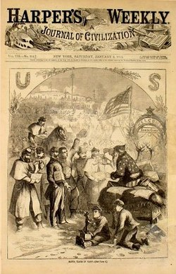 Santa Claus hands out gifts during the US Civil War in Thomas Nast's first Santa Claus cartoon, Harper's Weekly, 1863.