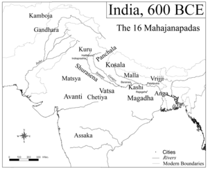 The Magadha state circa 600 BC, before it expanded