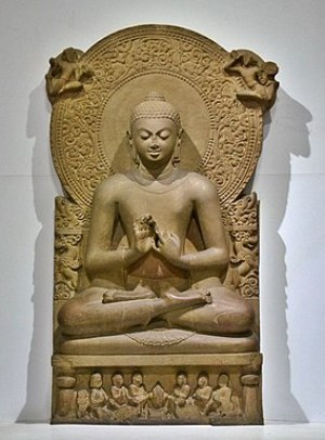 Buddha in Sarnath Museum (Dhammajak Mutra) Loc...