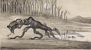 1 painting of a bunyip : watercolour, b&w ; im...