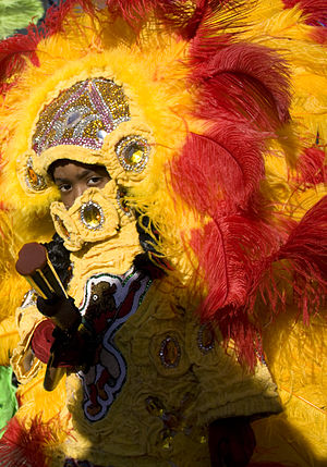 Mardi Gras Indian on Mardi Gras Day, Central C...