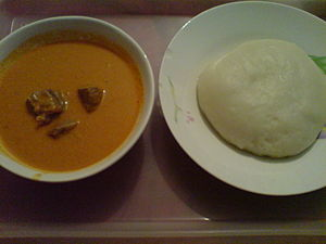 African cuisine   Wikipedia Fufu  right  is a staple food of Central Africa  pictured with some peanut  soup
