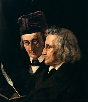 The Grimm Brothers, 1855 (right: Jacob Grimm; ...