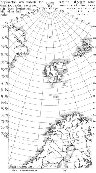 Número de días del sol de media noche en el hemisferio norte