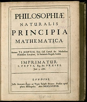 English: Isaac Newton's first edition of his P...