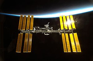 English: The International Space Station seen ...