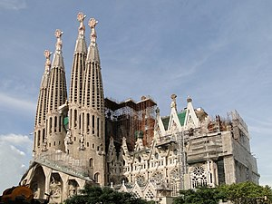 English: West side of the Sagrada Familia, Bar...