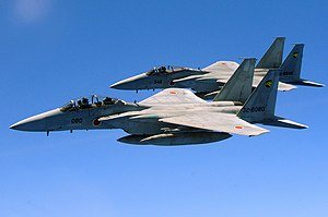English: Two Japan Air Self Defense Force F-15...