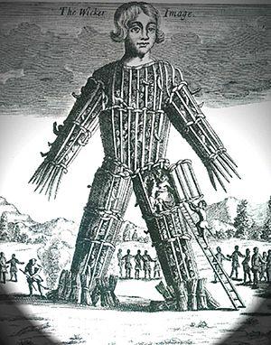 English: Wicker man, engraving