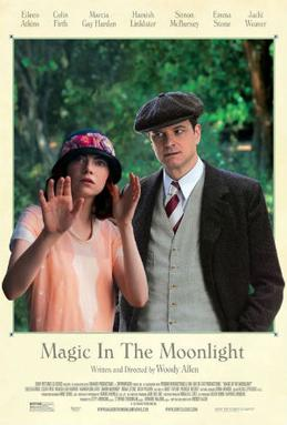 Cartell del film de Woody Allen Magic in the Moonlight, mostrant els actors Colin Firth i Emma Stone