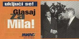 Đukanović campaign poster for the October 1997 presidential elections. The slogan exclaims: Get involved! Vote for Milo!