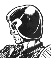 Judge Dredd from his first story, as drawn by Mike McMahon in 1977. The character's appearance has remained essentially unchanged ever since.