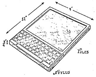 sketch of alan kay's dynabook from his 1972 paper