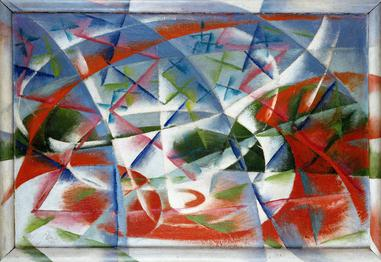 """Giacomo Balla's painting """"Abstract Speed + Sound"""" features sharp, cubic, abstract shapes and a palette of red, green, blue, and white to depict"""