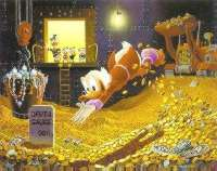 Scrooge McDuck diving into money